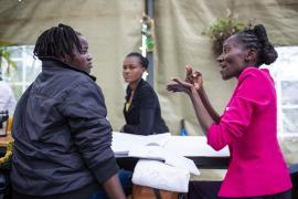 """Job seekers with disabilities take part in a research session at Pallet Caffe in Nairobi as part of the """"Inclusive futures initiative"""" project."""
