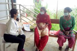 Social Worker Raising Awareness in the communities to COVID in Nepal.