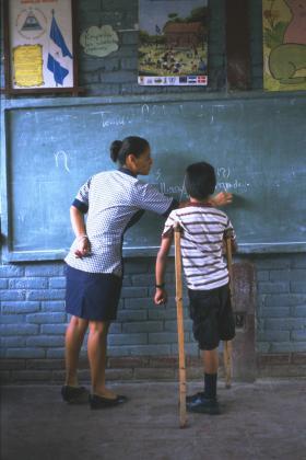 Boy learning at school
